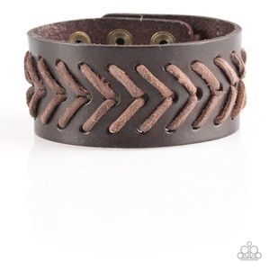 Brown Leather Stitched and Corded Bracelet